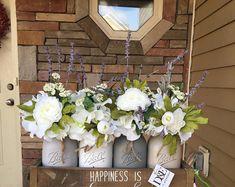 mason jar centerpiece, mason jar wedding decor, grey mason jar decor, head table decorations, mason jar table decor, rustic centerpiece, jar