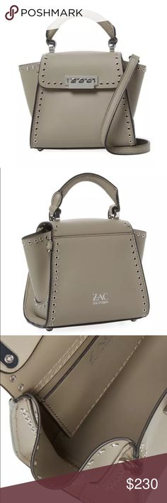 "Zac Posen Eartha Mini Leath. Satchel Description: Mini satchel  ❣️Leather ❣️Single rolled leather top handle and optional shoulder strap ❣️Grommet trim ❣️Metal feet at base ❣️Leather interior with one flat pocket ❣️Flap top with flip-lock closure ❣️Measurements: Body length 7"", height 7"", width 3"", drop handle 3"", strap drop 20"" ❣️Material: Leather ❣️Color: Atmosphere (Beige)  Brand: ZAC Zac Posen Zac Posen Bags Satchels"
