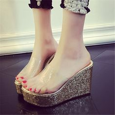 2016 summer platform slippers women cute wedge heel shoes woman stylish shoes