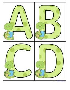 Turtles Large Alphabet Letters - FREE Large upper case letters with a Turtles theme. The cute turtle is reading a book. 4 letters to a page. Print on cardstock. Use to make turtles matching and recognition games for early learners. Preschool Letters, Preschool Themes, Preschool Classroom, Classroom Themes, Kindergarten, Alphabet Letters, Frogs Preschool, Printable Alphabet, Alphabet Cards