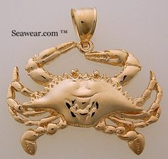 14K Yellow Gold Blue Crab Charm Pendant MSRP $287