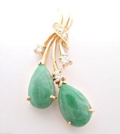 Vintage 0.18CT Lucky Jade Jadeite and Round Diamonds Pendant 14K Yellow Gold  #Handmade #Pendant