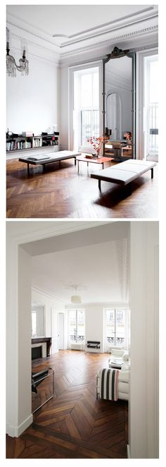 Parquet floors are still in?-Parquet floors are still in? I don& love all the parquet patterns, but I LOVE herringbone parquet. I thought today I& just share some examples of how gorgeous it can be…via housean - Parisian Apartment, Paris Apartments, Paris Apartment Interiors, French Apartment, Apartment Ideas, Parquet Flooring, Wooden Flooring, Dark Flooring, Garage Flooring