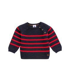 Baby-Pulli für Jungen aus Woll- und Baumwollstrick mit platzierten Streifen