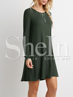 Dark Green Long Sleeve Designer Casual Dress 13.99
