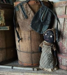 Primitive childs sewing pockets and black sock bottle doll. Sweet Liberty Homestead