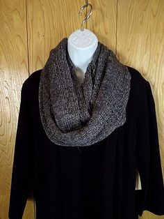 Ann Taylor Infinity Scarf Knitted Gray w/ Metallic Silver Thread Winter Holiday #AnnTaylor #Scarf