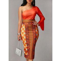 Long Sleeve Orange Top and Printed Sheath Skirt ($31) ❤ liked on Polyvore featuring skirts, orange, print skirt, mid-calf skirts, long midi skirt, brown maxi skirt and print midi skirt