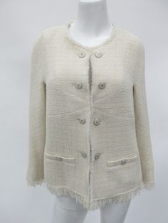 Chanel Authentic Women's Ivory Wool Jacket Blazer Size 42 Made in France | eBay