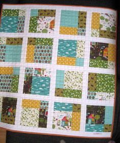 9 patch rearranged  http://www.etsy.com/listing/92848497/blue-baby-quilt