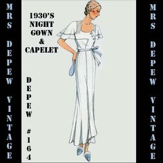 Vintage Sewing Pattern 1930's French Night Gown or  Slip in Any Size Depew 164. $7.50, via Etsy.