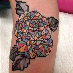 Colorful Kaleidoscope Rose Tattoo on Arm