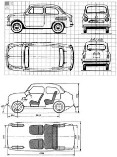 Download free 1960 ZAZ 965 Hatchback v2 blueprints. Outlines helps 3d artists, 3d modellers, designers and design studios to find the best blueprints for 3d modeling, animation, CAD and rendering, We supports Autodesk products such as 3D studio MAX, AutoCAD, Maya etc. Use PDF vector templates for car design, wrapping, vinyls making and for commercial fleet branding. Retro Cars, Vintage Cars, Car Top View, 3ds Max Tutorials, Fiat 600, 3d Studio, Car Sketch, Car Drawings, Old Cars