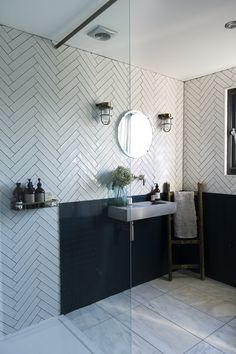From the cutting room floor - issue — 91 Magazine - geometric tiles in en-suite bathroom of Rebecca Lawson of Malmo & Moss as featured in 91 Magazine T - Loft Bathroom, Bathroom Plans, Modern Master Bathroom, Minimalist Bathroom, Modern Bathroom Design, White Bathroom, Bathroom Interior Design, Modern House Design, Small Bathroom