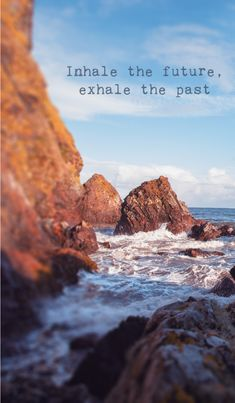 Inhale the future, exhale the past – much needed motivational quote. Be the rock! The seastacks at Scart Craig, Rosemarkie, Scotland. Natural Homes, Natural Home Decor, Green Living Tips, Let's Have Fun, Rich Life, Nature Quotes, Love Words, Scotland, Hold On
