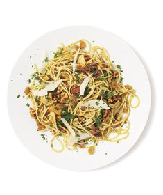 Pasta With Anchovies, Walnuts, and Raisins recipe from realsimple.com #MyPlate #protein