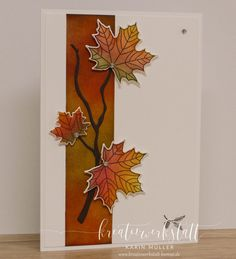 Stampin up - Herbst/Winter Autumn coloring with video instructions - creative workshop Wedding A Thanksgiving Greeting Cards, Making Greeting Cards, Fall Cards, Greeting Cards Handmade, Christmas Cards, 123 Cards, Leaf Cards, Creative Workshop, Fancy Fold Cards