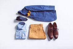 Spodnie Chino Pedro Curry, Koszula Miramar, Marynarka Toscania, Poszetka wełniana Paisley, Buty Hilton