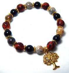 Gemstone Bracelet Tree Charm BraceletRed Black by BlueStoneRiver