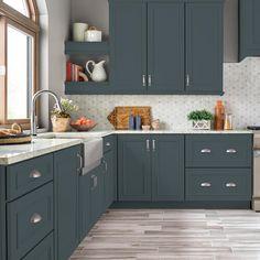 Kitchen Decor, New Kitchen, Kitchen Colors, Kitchen Paint, New Kitchen Cabinets, Kitchen Design, Kitchen Remodel, Blue Gray Kitchen Cabinets, Kitchen Renovation