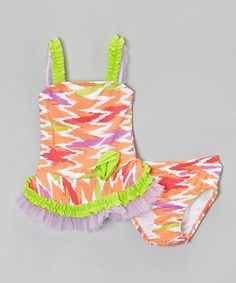 Look what I found on #zulily! Coral Zigzag Flower Ruffle Tankini - Toddler & Girls #zulilyfinds