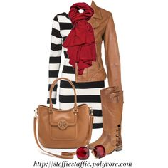 Stripes, Camel & Red, created by steffiestaffie on Polyvore