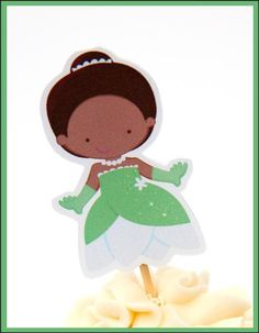 Princess Party - Set of 12 Tiana Princess and the Frog Cupcake Toppers by TheBirthdayHouse