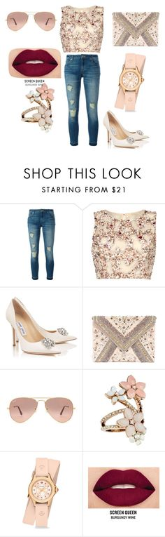 """Untitled #70"" by bosniamode ❤ liked on Polyvore featuring MICHAEL Michael Kors, Raishma, LULUS, Ray-Ban, Accessorize, Michele and Smashbox"