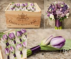 Transitioning tulips from bride's bouquet to groomsmen's boutonnieres. Do you like the purple ribbon, or would you prefer something more natural, like twine to highlight their linen pants?