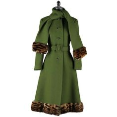 Vintage 1960s Green Wool Coat Leopard Trim Scarf Coat | From a collection of rare vintage coats and outerwear at http://www.1stdibs.com/fashion/clothing/coats-outerwear/