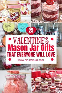 Surprise your loved ones with these easy DIY Valentines mason jar gifts this year! These mason jar gifts are perfect for Valentines day. Diy Gifts In A Jar, Mason Jar Gifts, Mason Jar Diy, Homemade Gifts, Valentines Day Food, Valentine Crafts, Valentine Desserts, Valentines Surprise, Valentine Ideas