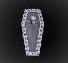 Halloween Goth Skull and Cross Bone Coffin Casket Ring Box Jewelry Box Trinket Box In Metallic Periwinkle
