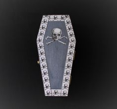 Halloween Goth Skull and Cross Bone Coffin Casket Ring Box Jewelry Box Trinket Box In Metallic Periwinkle
