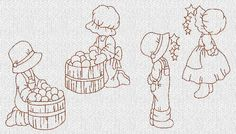 boys and girls Machine Embroidery Patterns, Hand Embroidery Designs, Vintage Embroidery, Quilt Patterns, Sunbonnet Sue, Holly Hobbie, Applique Quilts, Coloring Pages, Needlework