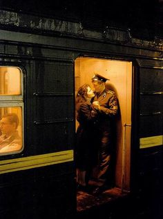 A Soviet Army cadet of the Novosibirsk Higher Military Command School riding the train with his girlfriend. Milan Kundera, Ticket To Ride, Soviet Army, Old Trains, Film Photography, Time Travel, Painting, Inspiration, Moscow Metro