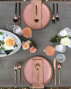 pink and rose gold tableware