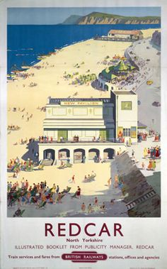 Vintage travel poster produced by British Railways BR to promote rail services to Redcar in Yorkshire Artwork by Ellis Silas This is truly an Posters Uk, Train Posters, Railway Posters, Online Posters, Poster Prints, Art Prints, Vintage Beach Posters, Train Map, Train Travel