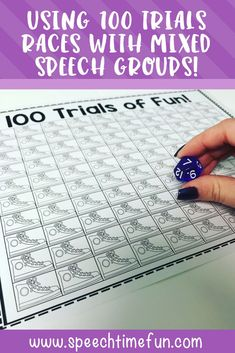 Using 100 Trial Races with Mixed Speech and Language Therapy Groups - a no prep and fun way to tackle mixed speech groups! #articulation #language #speechtherapy #mixedspeechgroups #noprepspeechtherapy