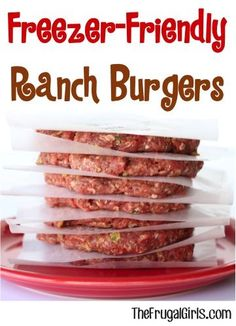 10 Most Misleading Foods That We Imagined Were Being Nutritious! Freezer Friendly Ranch Burger Recipe From Stock Your Freezer With Some Outrageously Delicious Burgers Make Ahead Freezer Meals, Freezer Cooking, Frugal Meals, Camping Meals, Ranch Burger Recipes, Ranch Burgers, Grilling Recipes, Beef Recipes, Cooking Recipes