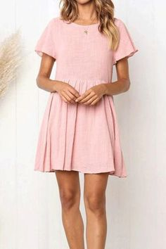 Casual Round Collar Plain Loose Shift Dress – linenwe cute dresses	 cute dress ideas	 cute christmas dresses #dresses  #cutechristmasdresses  #cutesimpledresses  #hocodresses  #dresslayering  #cuteformaldresses