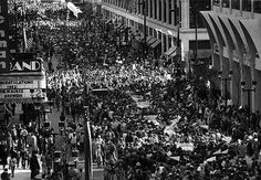 Close to 100,000 people watched the Brewers homecoming parade in 1982. Wisconsin Avenue. Photographer unknown, via Adam Levin