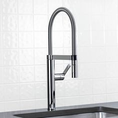 Blanco 441332 Culina Single Handle Semi Professional Pull Down Spray Kitchen Faucet 2.2 GPM Satin Nickel-eFaucets.com