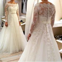 2016 neue Stil Plus Size Hochzeitskleid Langarm Mit Bogen Zurück Gericht Zug Braut Kleider