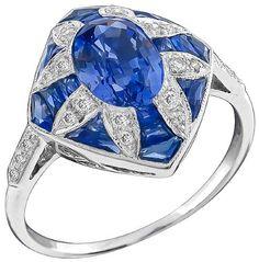 GIA Certified No Heat 1.50ct Sapphire Diamond Ring Photo 1