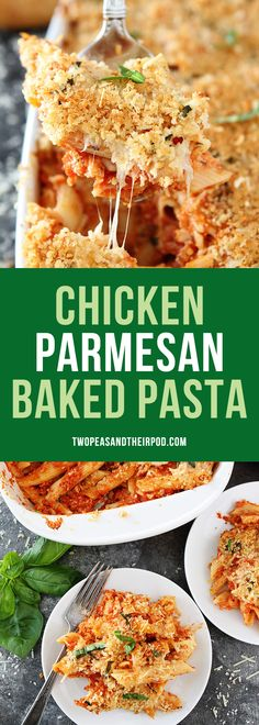 Chicken Parmesan Baked Pasta recipe from @twopeasandpod