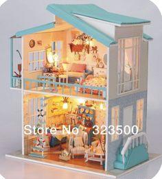"""Bois bricolage à la main miniature poupée ensemble maison avec des meubles de musique """" chérie plage CHALET """" cadeau de noël(China (Mainland))"""