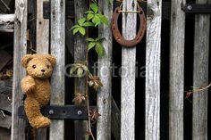 Unser Teddybär namens KramBam an einem Gartentor mit Hufeisen - wenn das kein Glück bringt!