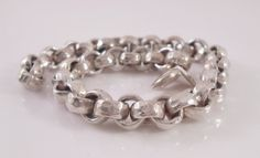 "Silver Bracelet Hammered Rolo Link Fine Silver Made in the USA 7.5"" - pinned by pin4etsy.com"