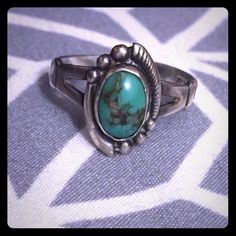 Vintage Sterling silver turquoise ring sz 6 Vintage Sterling silver turquoise ring. I believe it is probably a size 6. Jewelry Rings