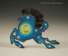 Van Gogh Starry Night inspired copper horse pin by StudioMichaud